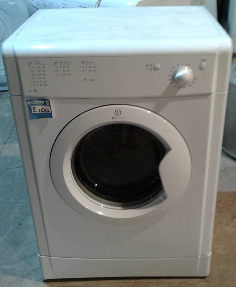 AA216 white indesit 6kg vented dryer comes with warranty can be delivered or collected