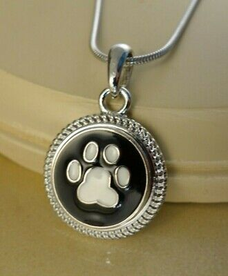 - DOG/CAT animal paw black Snap button rope pendant gift jewelry W/ steel necklace