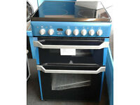 E376 blue indesit 60cm double oven ceramic hob electric cooker new with manufacturers warranty