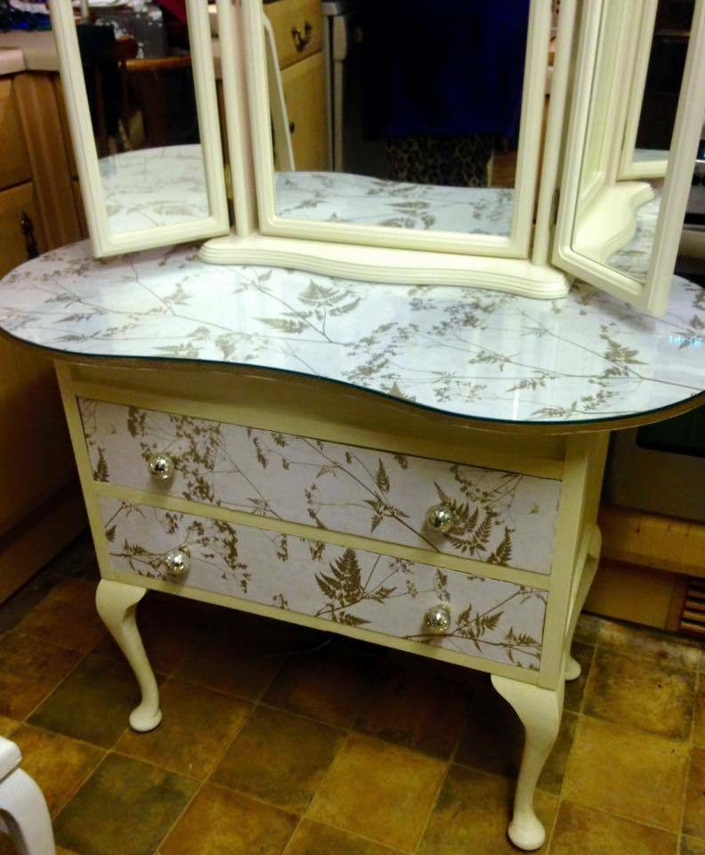 Retro Ducal Kidney Shape Dressing Table,Mirror U0026 Chair,