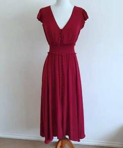 Size 8 VGC Forever New Silky Amayah Button Midi Evening Dress Red