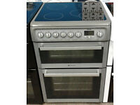 d193 silver hotpoint 60cm double oven ceramic electric cookrr comes with warranty can be delivered