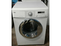 b458 white LG 7.5kg 1500spin washing machine comes with warranty can be delivered or collected