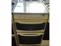 f61 white cannon 55cm double oven gas cooker comes with warranty can be delivered or collected
