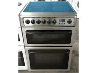 h086 stainless steel hotpoint 60cm double oven ceramic hob electric cooker comes with warranty