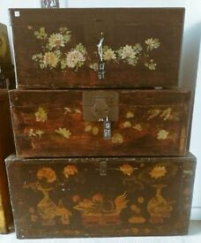 Antique floral Chinese trunks