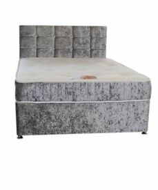 Double crushed velvet beds with memory foam mattress and diamontee headboard other sizes available