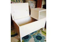 Vintage 1970s telephone hallway table shoe storage or girls bedroom storage toy box