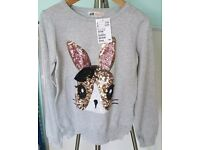 BNWT H&M Sequined Rabbit Jumper Size 8-10