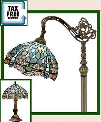 Set Lamp Tiffany Style Floor Table Light Shade Vintage Decor Dragonfly Glass New Dragonfly Light Set