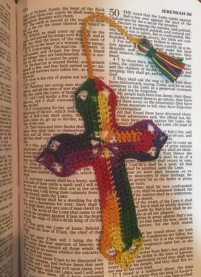Handmade crochet cross bookmark MEXICANA rainbow scrapbooking  Easter gift