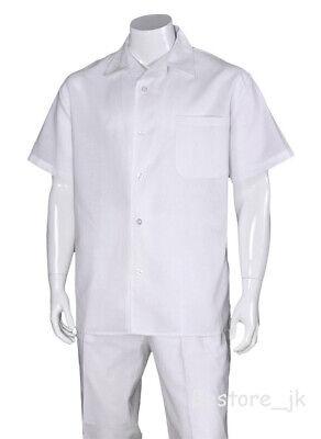 Men's 2pc Linen Casual Walking Suit Short Sleeve Shirt w/ Pants Set #2806 (Suit Short Sleeves)