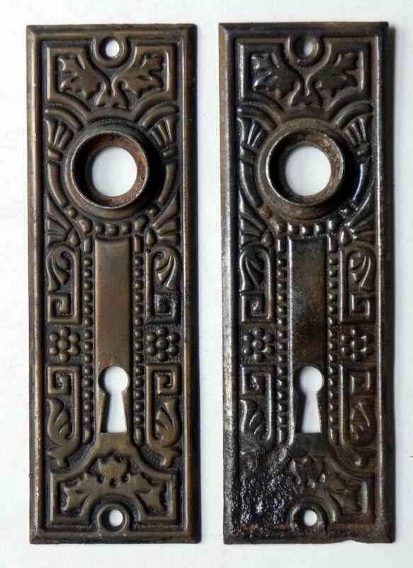 Antique Aesthetic Hardware Interior Pressed Steel Door Plates Foliate Pattern