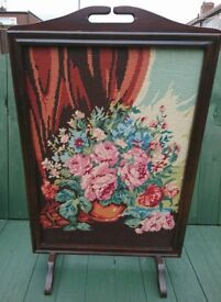 Pretty Vintage Embroidered Fire Screen