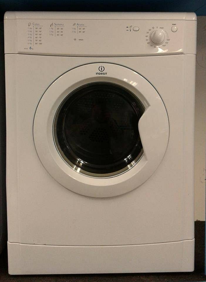 H082 white indesit 6kg vented dryer comes with warranty can be delivered or collected