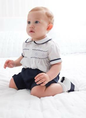 Boys Navy White Smocked Short Set NWT 12m- 4T, Feltman Brothers  Boys Navy Short Set