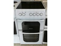 f303 white hotpoint 50cm electric cooker comes with warranty can be delivered or collected