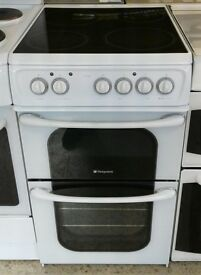 I303 white hotpoint 50cm ceramic electric cooker with warranty can be delivered or collected