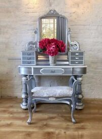 Victorian Dressing Table - Grey, White and Silver