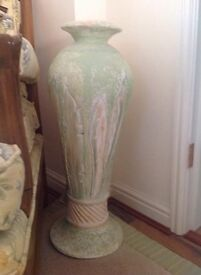 """25"""" Tall Handcrafted Pottery Urn with a Carved out and hand painted Leaf design"""