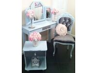 Dressing table, Louis chair, 3 way mirror, bedside cabinet
