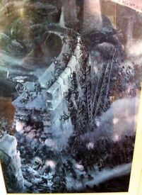 Rare Print ~ Lord of The Rings, Battle of the Hornburg by Alan Lee & JR Tolkien