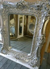 Ornate Platinum silver twin framed mirror
