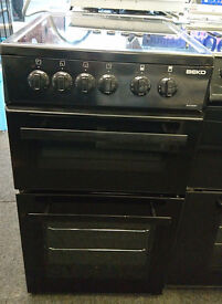 D129 black beko 50cm ceramic hob double oven electric cooker comes with warranty can be delivered