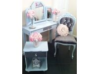 Dressing table, 3 way mirror, Louis chair, bed side cabinet. Bed room. £225 or nearest offer