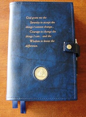 Alcoholics Anonymous AA Big Book 12 & 12 Deluxe LARGE PRINT Serenity Blue Cover