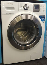L437 white & chrome samsung 12kg washing machine comes with warranty can be delivered or collected