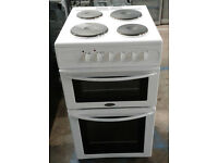 a156 white belling 50cm solid ring double oven electric cooker comes with warranty can be delivered