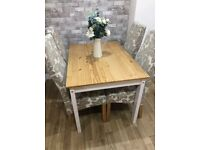 dining table &4 chairs cream & BEIGE 110CM X80