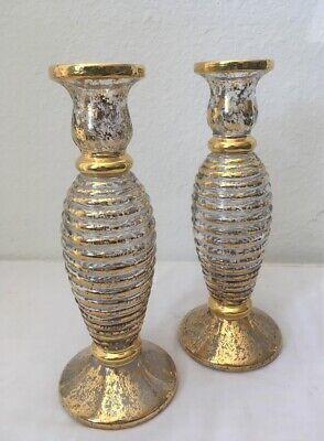 Tall Vases In Bulk (Pair Glass Bud Vases Handpainted 24 Carat Gold Paint made in Italy SI-AN 9