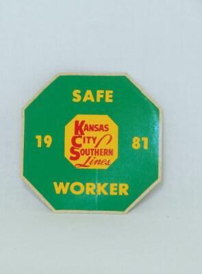 Kansas City Southern Lines KCS 1981 Safe Worker Sticker Safety Railroad Green