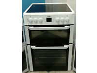 a590 white beko 60cm double oven ceramic hob electric cooker comes with warranty can be delivered