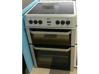 a623 silver beko 60cm double oven ceramic hob electric cooker comes with warranty can be delivered