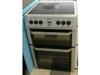623 silver beko 60cm double oven ceramic electric cooker with warranty can be delivered or collect