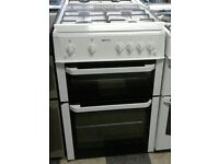 g664 white beko 60cm double oven gas cooker comes with warranty can be delivered or collected