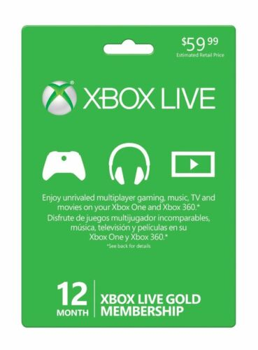 $42.99 - Xbox Live 12 Month Gold Membership New Sealed