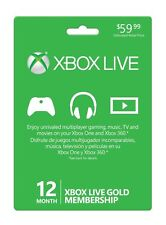Xbox Live 12 Month Gold Membership New Sealed