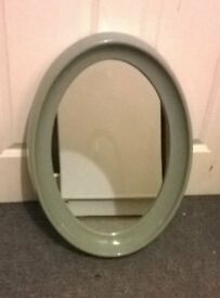 Grey Coloured Oval Mirror