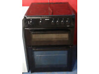 Z506 black beko 60cm double oven ceramic hob electric cooker comes with warranty can be delivered