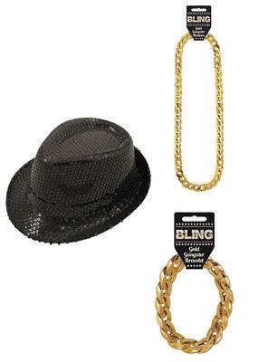 Rapper, GANGSTER FANCY DRESS ACCESSORIES COSTUME Pimp Party Dress Up 3 Pcs - Rapper Costume Accessories
