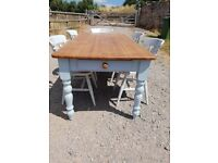 pine farmhouse table & 6 chairs with hearts and drawer