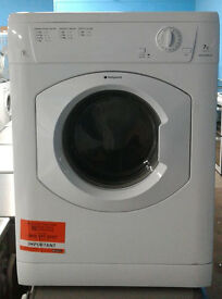 H109 white hotpoint 7kg B rated vented dryer comes with warranty can be delivered or collected