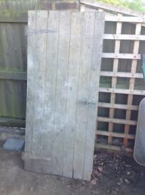 Wooden garden gate, 66 inches x 29.5 inches, needs a clean and a paint
