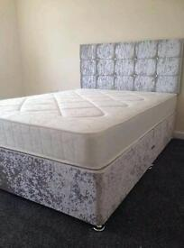 Double bed in crushed velvet including mattress