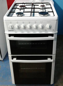 I589 white beko 50cm double oven gas cooker comes with warranty can be delivered or collected