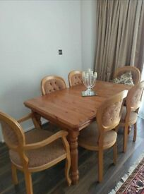 Extending Dining Table And 6 Chairs Solid Wood Excellent Quality / Extremely Sturdy
